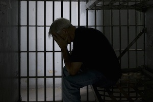 Silhouette of a Man in jail
